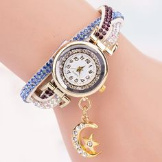 Rhinestoned Star Moon Bracelet Watch #>=#>=#>=#>=#> Click on the pin to check out discount price, color, size, shipping, etc. Save and like it!