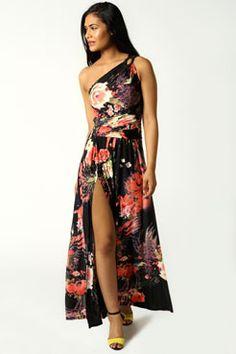 Forever 21 Off-the-Shoulder Rose Print Dress Black Floral Maxi Dress, Rose Print Dress, Maxi Dress With Slit, Maxi Wrap Dress, Strapless Dress, Dress Up, Prom Dresses, Bodycon Dress, Dresses Online