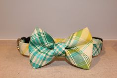 Teal Green Yellow & Cream Plaid Dog Collar by SpoiledPawsBowtique