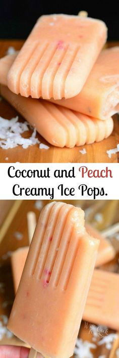 Delicious homemade Creamy Peach Popsicles These fruit pops are easily made and packed with fresh peaches and coconut milk Recipes - Coconut and Peach Creamy Popsicles by willcookforsmiles click now for more. Creamy Popsicles Recipe, Peach Popsicles, Homemade Popsicles, Homemade Ice, Fruit Popsicles, Coconut Milk Popsicles, Alcoholic Popsicles, Breakfast Popsicles, Homemade Sorbet
