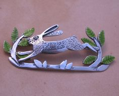 Large Leaping Hare Brooch by Caroline Temple