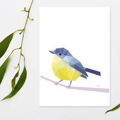 Yellow robin. The Y in my Australian Abc cards.  #abc #yellowrobin #homedecoration #australiananimals #birdwatchting #natureart #tinykiwiprints #uniquedecor by tinykiwi_prints