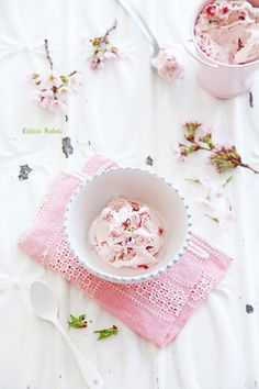 Strawberry ice cream with Cherry Blossoms, white, fresh, clean #bywstudent