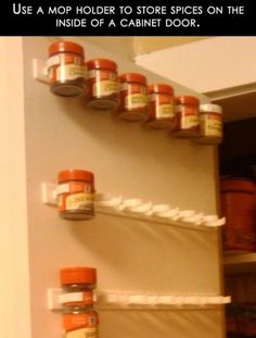 DIY spice rack organizer with a mop holder