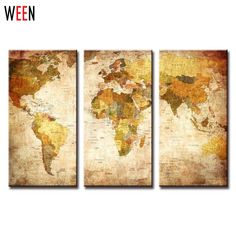 Canvas wall art world map painting canvas prints framed ready to 3 panel vintage world map print gumiabroncs Image collections