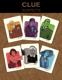One of my senior projects. Took it upon myself to illustrate all the cards from the classic board game, Clue. Wanted to give it a aesthetic and was heavily influenced by the work of Bob Peak. Game Card Design, Bg Design, Board Game Design, Sketch Design, Graphic Design, Rp Games, Clue Board Game, Clue Games, Classic Board Games