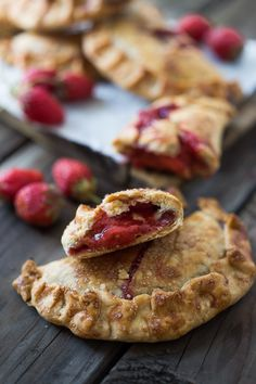 "A simple delicious recipe for Strawberry Turnovers or ""Hand Pies"" , sweetened with maple syrup. Step by step instructions on mastering the ""double fold"" which prevent the filling from oozing out while baking. 