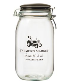 Loving this Glass 'Farm to Fork' Canister on #zulily! #zulilyfinds