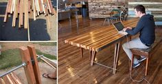 Use some scrap wood to build this weathered-looking table
