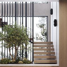 Interior Concept, Interior Design, Internal Courtyard, Stair Handrail, Natural Life, Contemporary Interior, Detached House, Tiny House, Adobe Photoshop