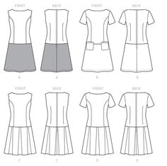 M7241 - Line Art - MISSES' DRESSES: Dresses have semi-fitted bodice with side-front seams, skirt variations and back zipper. A: Topstitching. A and B: Semi-fitted through hip, stitched hem. C and D: Pleats. Note: Separate pattern pieces are included for cup sizes A/B, C, D. Designed for medium-weight woven fabrics. FABRICS: Wool Blends, Tweeds, Gabardine, Poplin. Contrast: Faux Leather, Suede. Lining: Lining Fabrics.