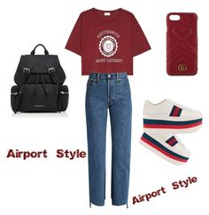 """""""Airport style"""" by dida-kirei on Polyvore featuring Yves Saint Laurent, Vetements, Gucci and Burberry"""