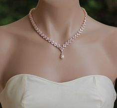 May 2020 - Rose Gold Crystal Necklace Pearl Drop Crystal Necklace Rose Blue Sapphire Necklace, Dainty Diamond Necklace, Diamond Pendant, Crystal Necklace, Gold Necklace, Circle Necklace, Silver Necklaces, Silver Rings, Pendant Necklace
