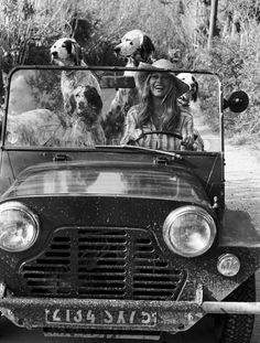 """A dog is the only thing on earth that loves you more than he loves himself."" -Josh Billings Brigitte Bardot & her dogs"