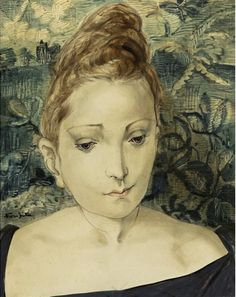 Foujita Tsuguharu, Femme à la tapisserie, 1958