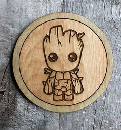 Hey, I found this really awesome Etsy listing at https://www.etsy.com/listing/516433862/baby-groot-wood-coaster-rusticvintage