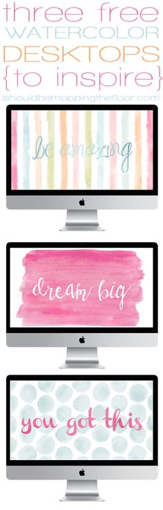 3 Free Watercolor Desktop Wallpapers ~ standard sized instant downloads | ishouldbemoppingthefloor.com