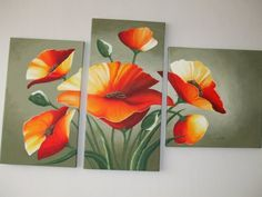 Acrylic Painting Flowers, Acrylic Painting Canvas, Mural Wall Art, Step By Step Painting, Unique Wall Art, Large Canvas, Easy Paintings, Drawing For Kids, Mehndi Designs
