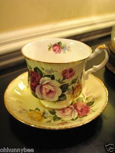 Vintage PARAGON Fine Bone China England Purple Yellow Red Roses Cup & Saucer EXC