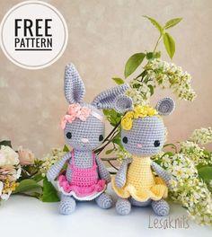 Amigurumi Doll Pattern, Crochet Amigurumi Free Patterns, Crochet Animal Patterns, Stuffed Animal Patterns, Amigurumi Minta, Crochet Mouse, Crochet Bunny, Cute Crochet, Crochet Dolls