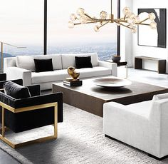 Paying attention to the details of the design is essential in creating a luxury living room interior. Living Room Modern, Living Room Interior, Home Living Room, Home Interior Design, Living Room Designs, Living Room Decor, Living Spaces, Small Living, Black And White Living Room