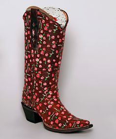 Another great find on #zulily! Brown & Pink Rose Weave Leather Cowboy Boot by Tanner Mark Boots #zulilyfinds