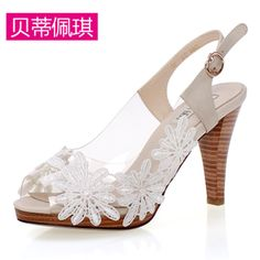 high-heeled shoes fish head sandals