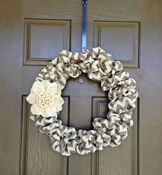 DIY Burlap Wreath by Katie Marie ... So cute and so perfect for Wisconsin! Might make one in every color I can find for all seasons!