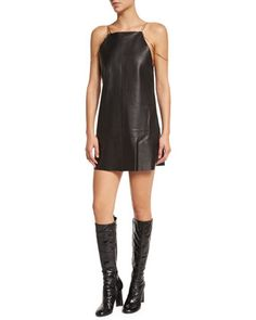 Zoya Sleeveless Leather Shift Dress, Black by Alexis at Neiman Marcus.