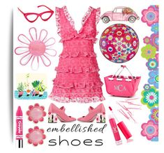 """""""Embellished shoes"""" by pepitarita ❤ liked on Polyvore featuring Brewster Home Fashions, Prada, Giamba, Current Mood, Sigma, Kate Spade, Clinique, Aggie Gray, ban.do and embellishedshoes"""