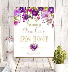 Purple Welcome Bridal Shower Sign Bridal Brunch Sign Welcome #bridalshowerideas