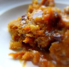 Carrot pudding with raisins instead of dried fruit.