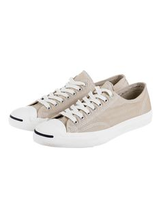 Converse Jack Purcell canvas trainers in beige.
