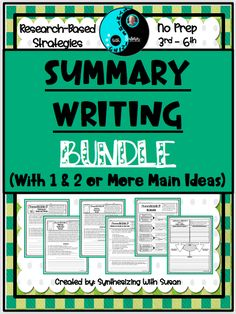 This no-prep, fiction and informational text summarizing activities bundle is Common Core aligned and filled with research-based strategies and graphic organizers to help your students succeed. #anchorcharts #worksheets #4thgrade #5thgrade #synthesizingwithsusan Summarizing Activities, Teaching Activities, Teaching Writing, Writing Skills, Learning Resources, Student Learning, Teaching Ideas, Summary Writing, Writing Ideas