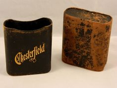 Vintage Chesterfield Cigarettes Leather Pack Case Advertising Tobacciana Black