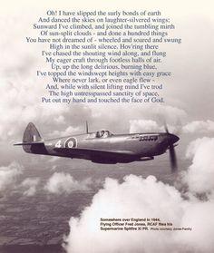 High Flight a poem by John Gillespie Magee (my favorite poem)