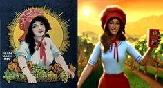 old vs. new: The Sun-Maid Raisin Girl: 1916 and 2012. (CGI = creepy)