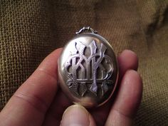 Antique Victorian monogram solid silver locket pendant with baby photo & hair