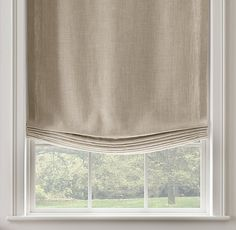 Belgian Textured Linen Relaxed Roman Shade. Slightly softer line.