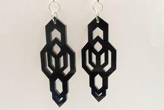 Infinite earrings black acrylic laser cut