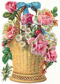 Flower Bouquet With Wicker Beautiful Flowers Wallpapers, Beautiful Rose Flowers, Vintage Crafts, Vintage Ephemera, Clipart Vintage, Victorian Flowers, Vintage Flowers, Flower Coloring Sheets, Free Printable Art