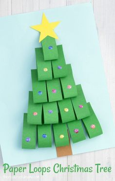 This Paper Loops Christmas Tree Craft is a fun way to add dimension and sparkle to your Christmas kid crafts using paper.#KidsCrafts #christmascrafts