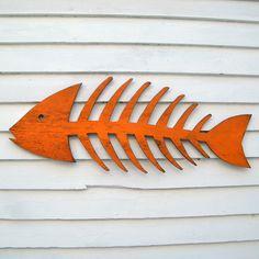 Fish Skeleton Sign Wooden Fish Art Beach Cottage Fish Decor