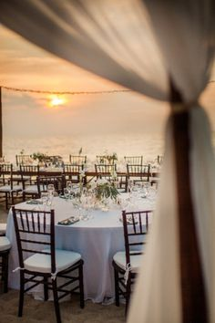 sunset beach #wedding reception