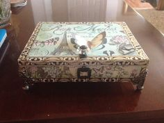 Altered cigar box decorated with gorgeous KAISERCRFT papers and beautiful findings.