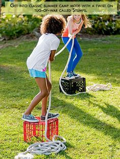Summer fun Ideas- twist on tug-of-war called Stumps