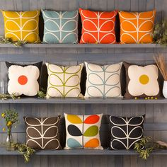 Orla Kiely pillows from Surya in the iconic patterns.