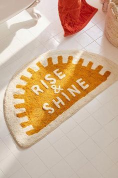 Check out Rise And Shine Bath Mat from Urban Outfitters – Carpet for living room Bath Rugs, Bathroom Rugs, Bathroom Ideas, Bathroom Furniture, Modern Bathroom, Bathroom Organization, Apartment Furniture, Bathroom Inspiration, Antique Furniture