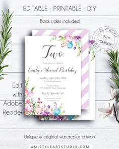 2nd Floral Birthday Invitation Template, with adorable and colorful hand-painted watercolor floral design in vintage and boho style.This charming second birthday invite template is an instant download EDITABLE PDF so you can download it right away, DIY edit and print it at home or at your local copy shop by Amistyle Art Studio on Etsy