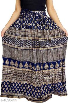 Checkout this latest Skirts Product Name: *Stylish Women's Skirt* Fabric: Rayon Size: Up To 36 in - 42 in (Free Size) Length: Up To 40 in Type: Stitched Description: It Has 1 Piece Of Women's Skirt  Work: Printed Country of Origin: India Easy Returns Available In Case Of Any Issue   Catalog Rating: ★4 (412)  Catalog Name: Graceful Stylish Women's Skirts Vol 4 CatalogID_682121 C74-SC1013 Code: 913-4696436-177